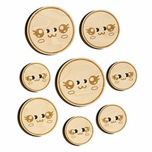 Kawaii Cute Sparkly Eyes Face Wood Buttons for Sewing Knitting Crochet DIY Craft - $9.99