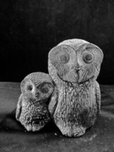 Owls - Mother Owl And Baby Owlet Carved From Soapstone Nuvuk Canada - $16.34