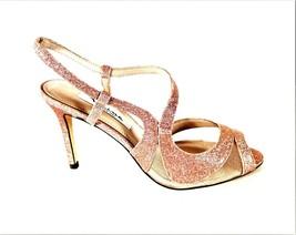 Nina Pink Glitter Dress Strappy Peep Toe Heels Shoes Women's 7 1/2 M (SW4) - $67.99
