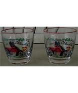 Set of 2 Oldsmobile Transferware Glasses, VG COND - $2.96