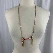 J Crew Rhinestone Tassel Beaded Long Boho Necklace Gold Tone Fancy Link ... - $29.65