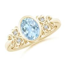 Vintage Style Bezel-Set 1ct Oval Aquamarine Ring with Diamonds Gold/Plat... - $757.64+