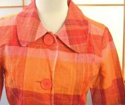 SILKLAND Jacket Women's Linen Blazer Orange Plaid big buttons retro boho... - $12.82