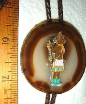VTG T COWGIRL COWBOY TOOLED LEATHER KACHINA WARRIOR GEODE BOLO TIE NECKL... - $237.99