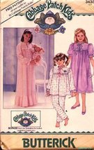 Butterick 3436 Cabbage Patch Kids Nightgown, Pajamas, Doll Outfit Included, Vint - $12.74
