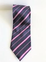 "Bill Blass ""Bill"" Men's Silk Striped Navy Blue, Silver, Fuchsia Accent Necktie - $9.49"