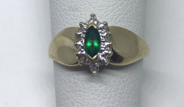 Ring 10 Karat Yellow Gold Marquise Created Emerald Diamond Accent Size 5 - $110.20