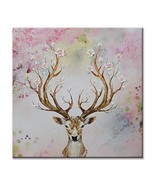 Canvas Wall Art Animal Deer Pink Modern Print Oil Painting for Living Ro... - $55.10