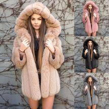 Women Luxurious Hooded Fur Coat  Fuzzy Jacket Warm Thick Faux Fur image 1