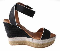 Not Rated Women's Black White Sand Summer Platform Wedge Sandals NIB image 3