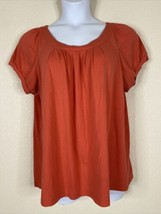 Cato Womens Plus Size 18/20W Coral Pleated Neck Blouse Short Sleeve - $14.85