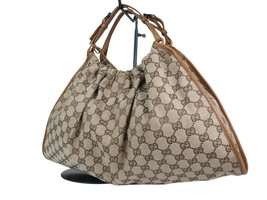 Authentic GUCCI GG Pattern Canvas Leather Browns Hand Bag GS17954L - $293.26 CAD