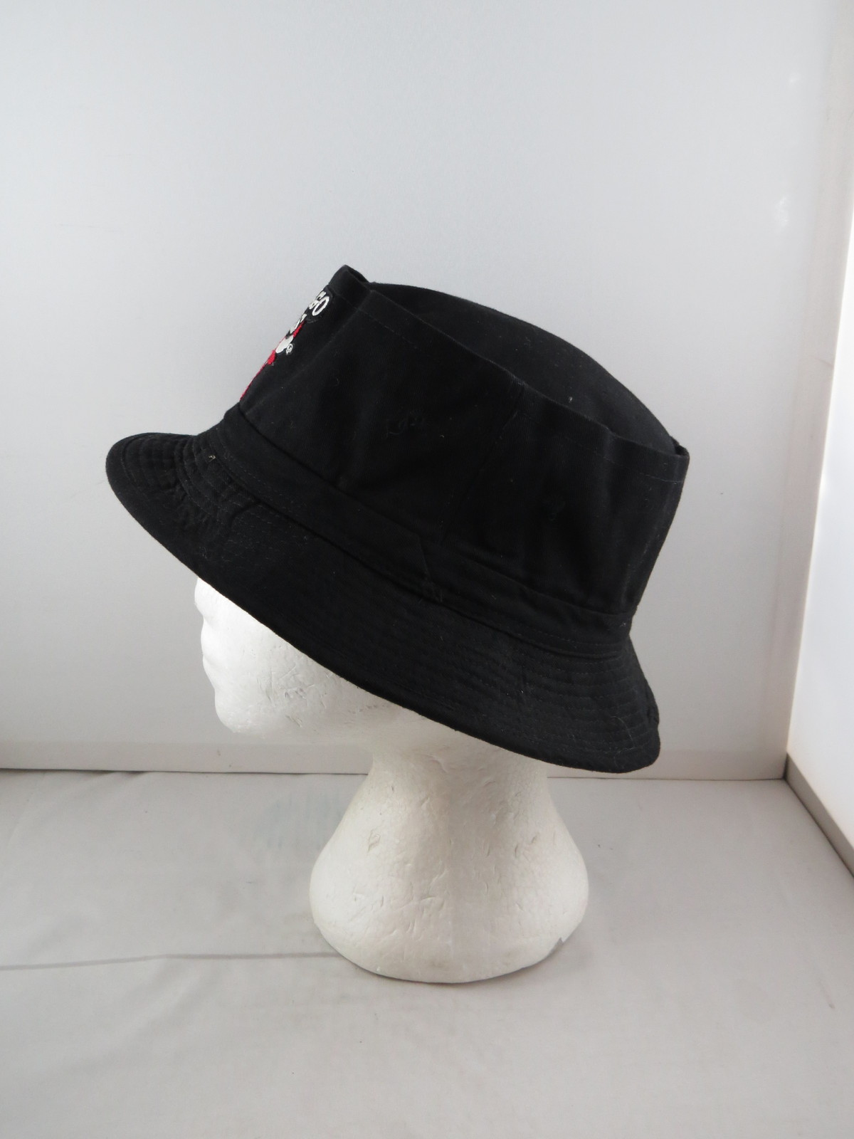 Chicago Bulls Bucket Hat (VTG) - All Black with Stitched logo - Adult One Size