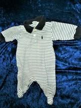 Ralph Lauren Baby Boy Footed Stripe Romper Easter Dressy Preppy Navy Blue 0-3 - $12.86