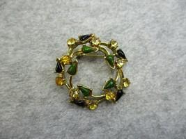 Vintage Yellow Rhinestones Green Black Stone Gold Tone Metal Brooch Pin - $8.29