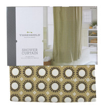 "NEW Threshold Yellow Circle Shower Curtain 72x72"" 100% Cotton Buttonhole... - $24.99"