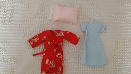 NEW BARBIE DOLL SIZE HAND CRAFTED RED ROBE PAJAMA SET,BLUE NIGHT GOWN,PI... - $9.89