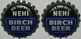 Soda pop bottle caps NEHI BIRCH BEER #1 Lot of 2 cork lined unused new o... - $5.99