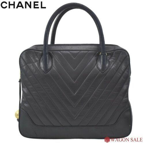 Auth CHANEL Hand Bag Black Lamb Skin Matelasse Vintage Inner pockets B4343