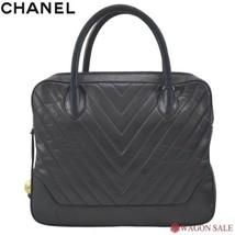 fa0b2ce6bbb9 Auth CHANEL Hand Bag Black Lamb Skin Matelasse Vintage Inner pockets B4343  - $1,033.56