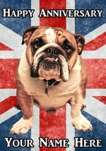 Bulldog  Happy Anniversary  A5 Personalised  Greeting Card PIDBUL2 - $4.05