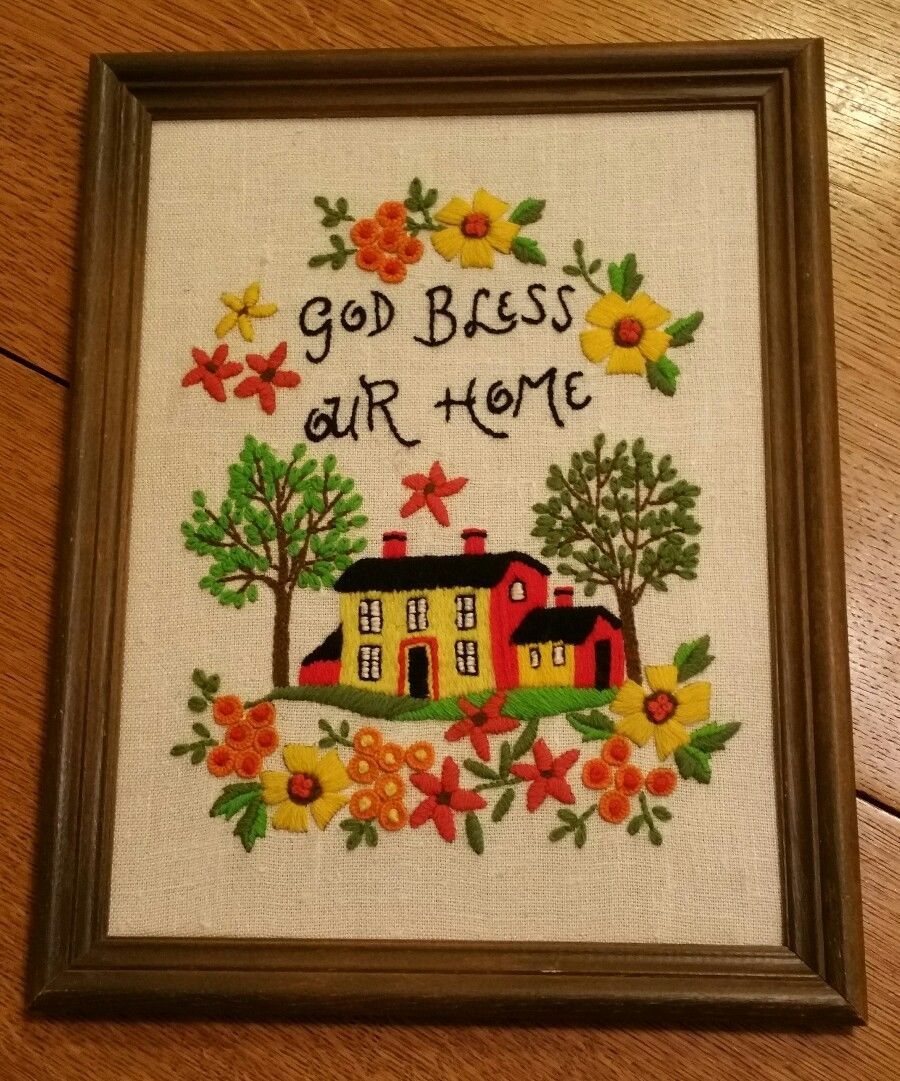 Crewel Wall Hanging God Bless Our Home and 50 similar items