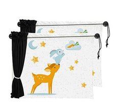 Set of 2 Cartoon Car Curtains Sunshades Sucker Type Sunshades, Deer
