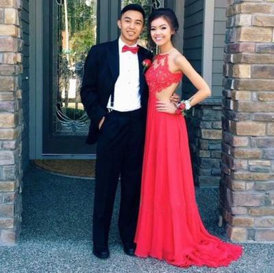red Prom Dress,long prom dress,backless prom dress,lace evening dresses,BD706