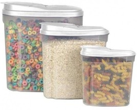 3 Piece Pack Canister Cereal Dry Candy Snack Dispenser Storage Box Clear... - €21,83 EUR