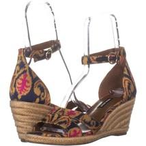 Nine West Jeranna Wedge Heel Espadrilles Sandals 274, Blue Multi, 8.5 US - $25.91