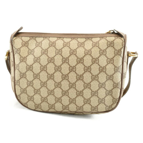 GUCCI Sherry Line GG Canvas Shoulder Bag Brown Auth sa1942
