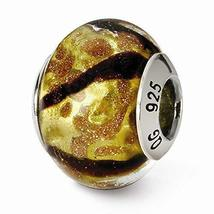 Sterling Silver s Yellow/black/gold Italian Murano Bead by Reflection Beads - $25.26