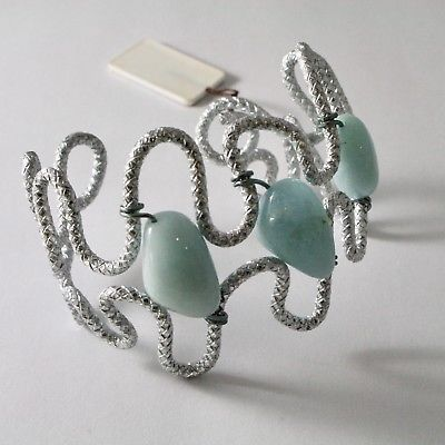 BRACELET ALUMINUM WITH AQUAMARINE NATURAL HANDMADE PRODUCTION