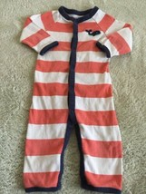 Carters Boys Red White Navy Blue Striped Whale Snaps Long Sleeve Romper ... - $5.00