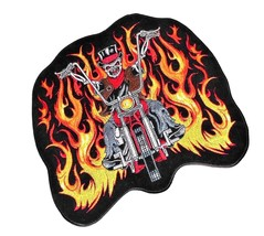 Large Motorcycle Flaming Skull Rider Embroidered Patch NWT  - $19.57