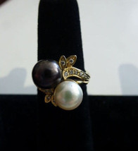 14k Yellow Gold Pearl Ring w/ Diamonds Size - 6.5 - $395.00