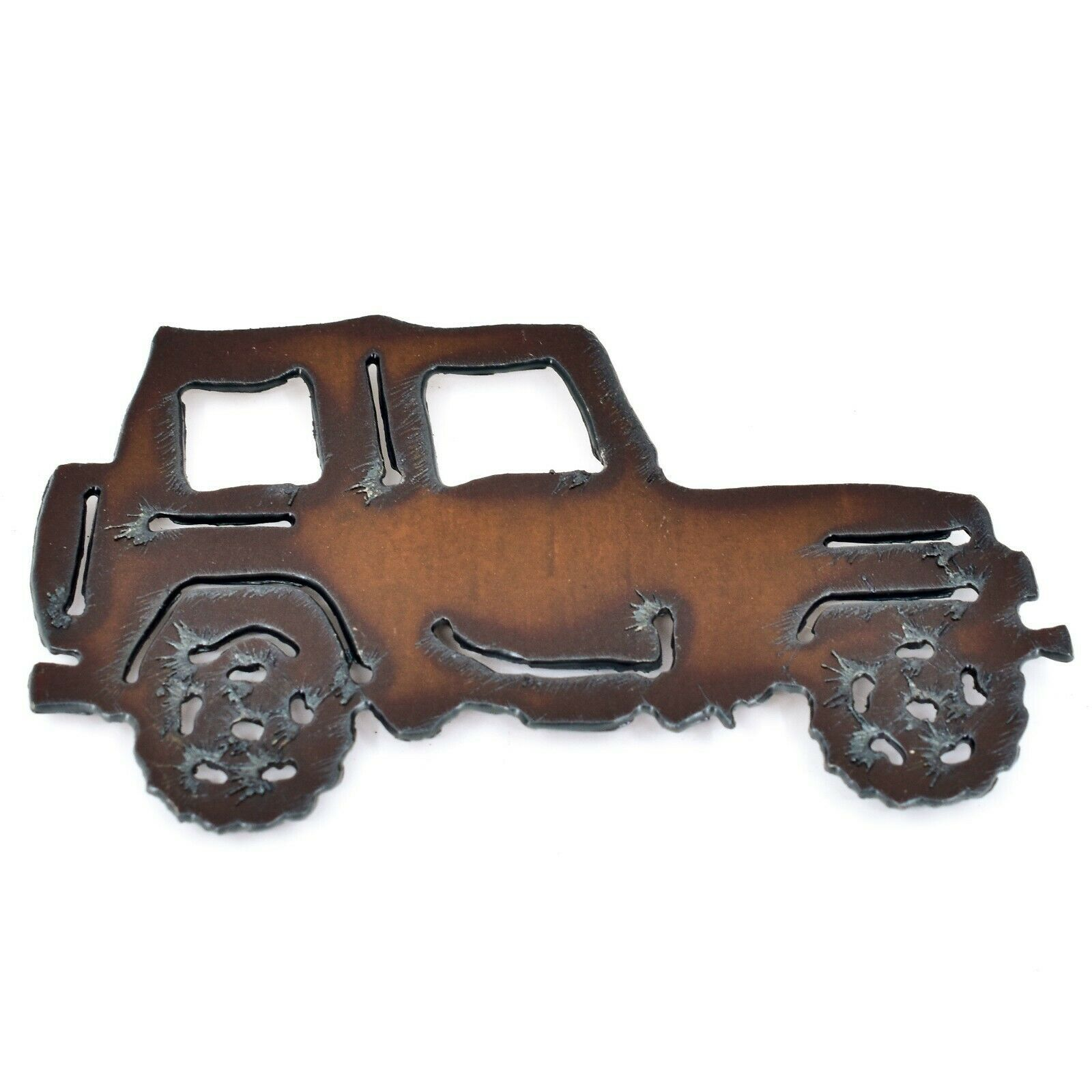 "Rustic Rusted Patina Iron Metal Cutout Jeep Wrangler 4.5"" Refrigerator Magnet"
