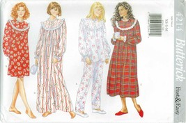 Butterick 4214 Misses Pajamas PJs A-line Nightgown Fast Easy Pattern UNC... - $15.95