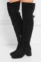 $1800  Prada Black Suede Over-The-Knee Boots  Mid Heel Buckle Booties 38.5 - $630.00
