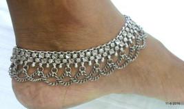 vintage antique ethnic tribal old silver anklet feet bracelet ankle chain - $632.61
