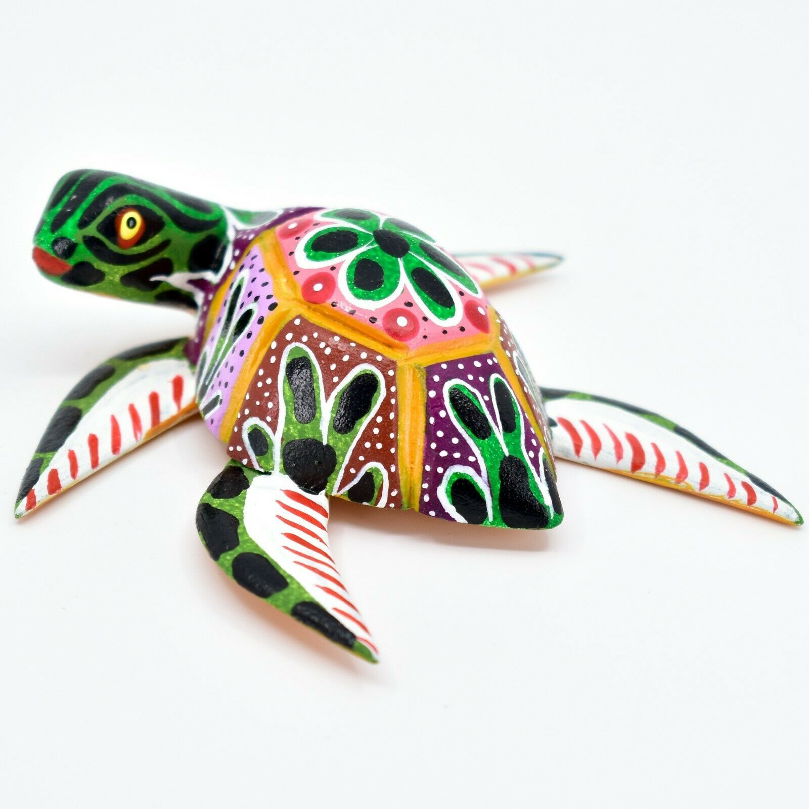 Handmade Alebrijes Oaxacan Copal Wood Carving Painted Folk Art Sea Turtle Figure