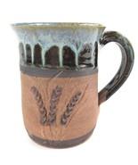 Steve Ashley Art Pottery Mug Coffee Cup Wheat Blue Brown - $33.94