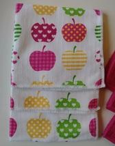 "APPLE HEART MICROFIBER TOWELS 6-pack Dishcloths 12""x12"" Pink Dish Cloths Apples image 4"