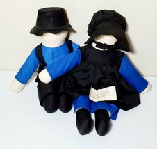 Vintage Amish Faceless Dolls Man & Woman Handcrafted in PA Plush PA Dutch - $24.99