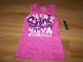 Size XS X Small 4-5 Faded Glory Pink Summer Tank Top Shine Always Purple Glitter - $9.00