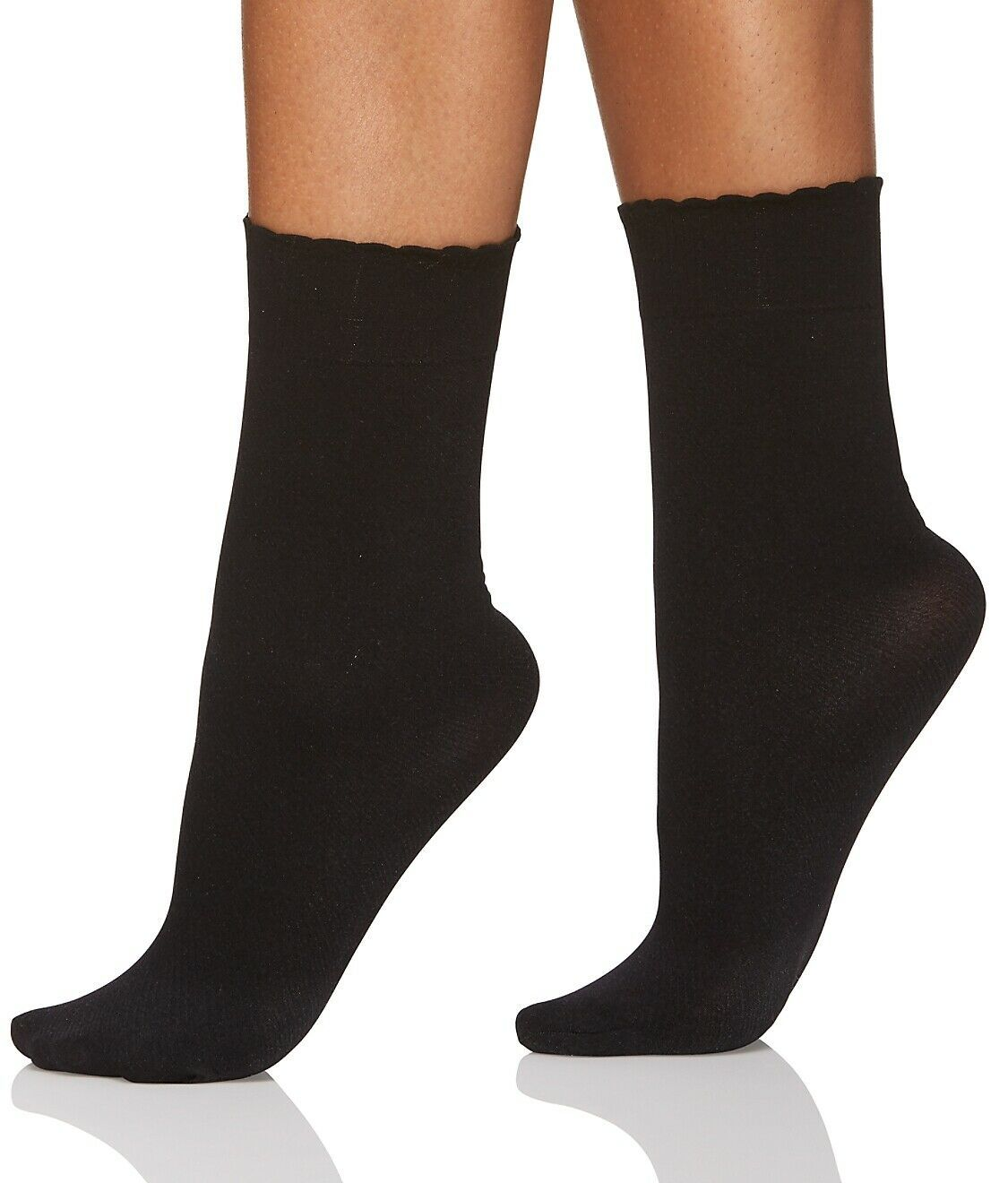 Berkshire BLACK Cozy Hose Plush Lined Scalloped Anklet, US Plus(9-12) image 3