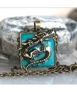 Dragon Necklace Pendant Glow Dark Luminous Locket Magic Moon Steampunk J... - $8.90