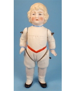 Antique German All Bisque Boy Doll, Molded Rompers - $145.00