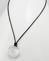 Contemporary CZ Peace Sign Cotton Necklace Sterling - £13.32 GBP