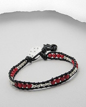 Coral & Sterling Silver Bead Friendship Leather Bracelet with Disc Charm - $22.95